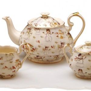 Snowman Teapot, Creamer & Sugar